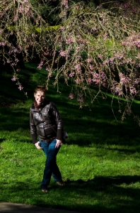 Under the cherries